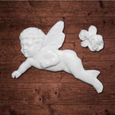 "Декор из пластика,  ""Летящий ангел"" в комплекте с розами, Размер ангела 6,5х5 см"