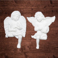 "Декор из пластика,  ""Сидячие ангелы"", Размеры 5х7 см"