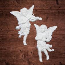 """Декор из пластика,  """"Ангелы со скрипкой и сердцем"""", Высота 7 см"""