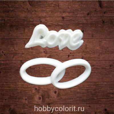 """декор из пластика, надпись """"Love"""" и обручальные кольца, Размер надписи 25х10 мм, Размер колец 32х15 мм"""