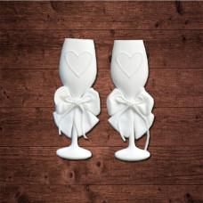 "декор из пластика, ""Свадебные фужеры"", размер 50х20 мм"