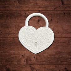 "декор из пластика, ""Замочек в форме сердца"" малый, Размер 25х28мм"