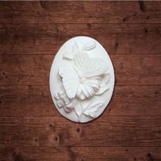 """декор из пластика, Камея """"Бабочка на лилии"""", Размер 33х46 мм"""