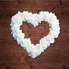 "декор из пластика, ""Сердце из цветов"", Размер 5,0х5,0 см"