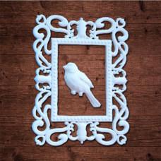 """декор из пластика, """"Большая рамка с птицей"""", Размер внешний 7,2х9,4см Размер внутренний 3,6х5,1см"""
